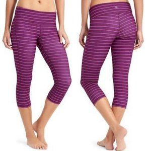 ATHLETA Stripes Chaturanga Capri Purple {MM29}